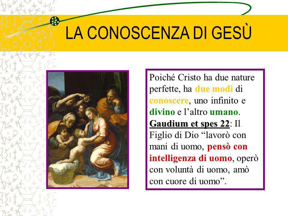 LA CONOSCENZA DI GESÙ Poiché Cristo ha due nature perfette, ha due modi di conoscere, uno infinito e divino e l'altro umano.