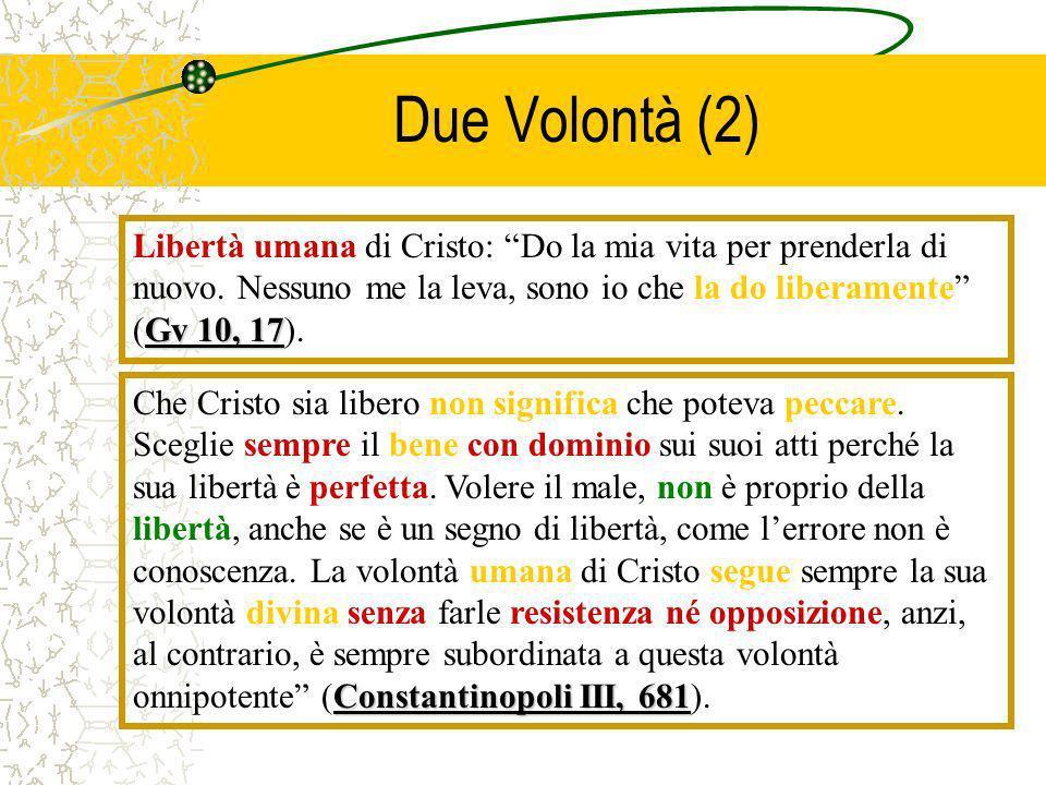 Due Volontà (2) Libertà umana di Cristo: Do la mia vita per prenderla di nuovo. Nessuno me la leva, sono io che la do liberamente (Gv 10, 17).