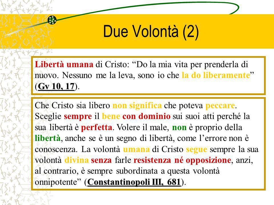 Due Volontà (2)Libertà umana di Cristo: Do la mia vita per prenderla di nuovo. Nessuno me la leva, sono io che la do liberamente (Gv 10, 17).