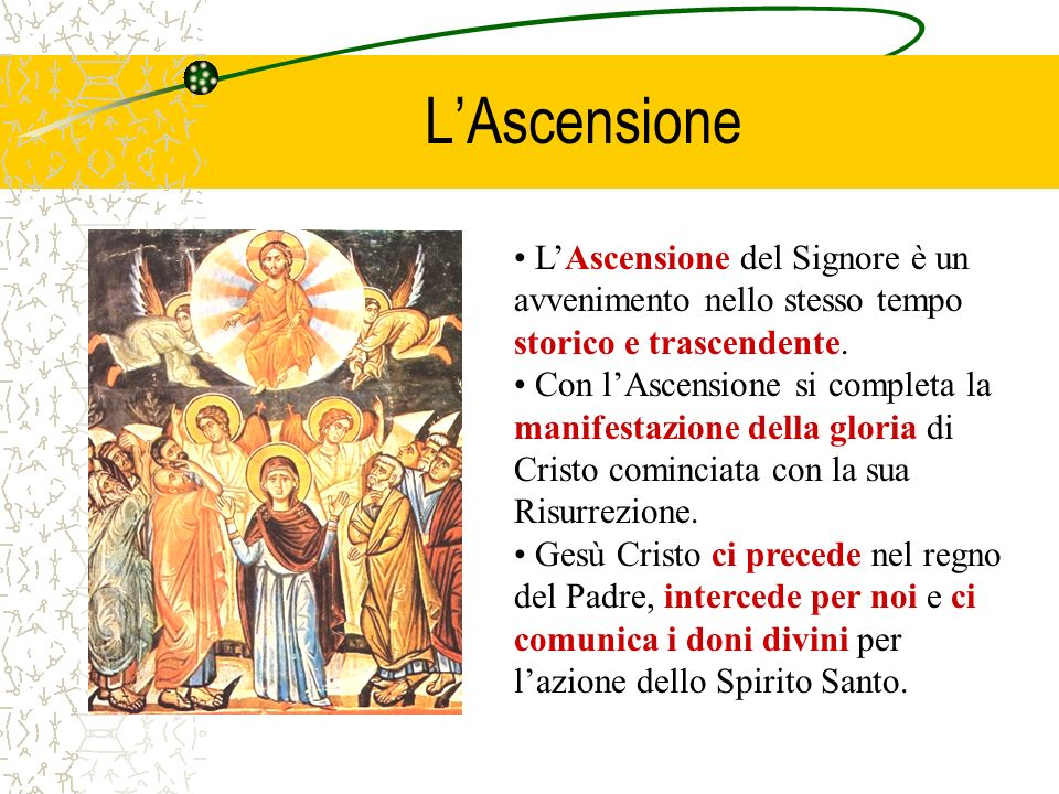 L'Ascensione L'Ascensione del Signore è un avvenimento nello stesso tempo storico e trascendente.