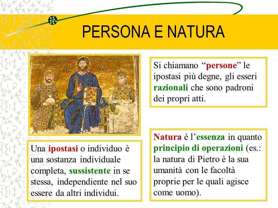 PERSONA E NATURA Si chiamano persone le ipostasi più degne, gli esseri razionali che sono padroni dei propri atti.