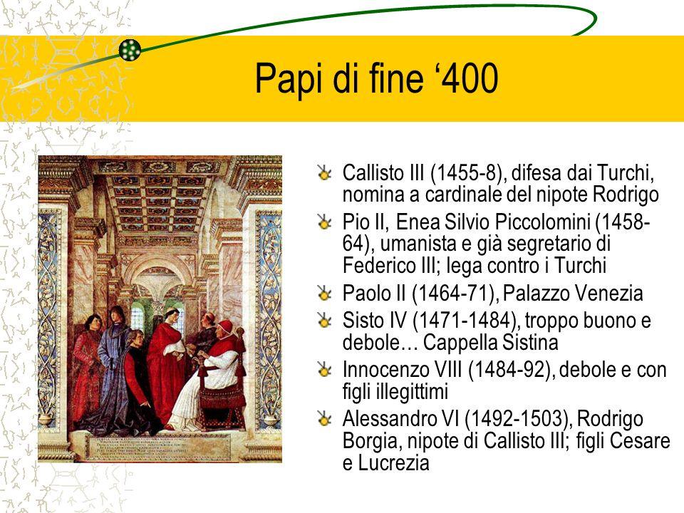 Papi di fine '400 Callisto III (1455-8), difesa dai Turchi, nomina a cardinale del nipote Rodrigo.
