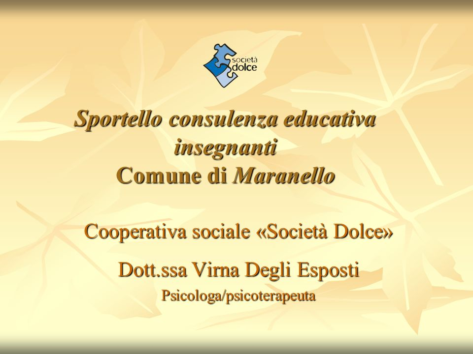 Sportello consulenza educativa insegnanti Comune di Maranello