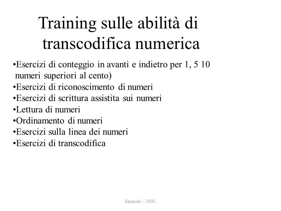 Training sulle abilità di transcodifica numerica