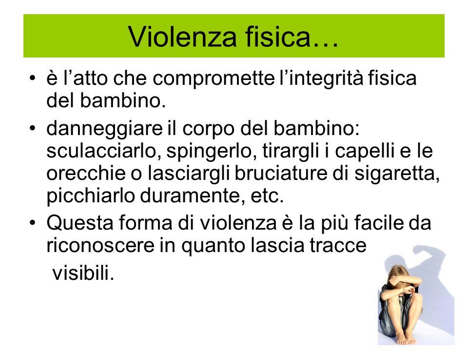 Violenza fisica… è l'atto che compromette l'integrità fisica del bambino.