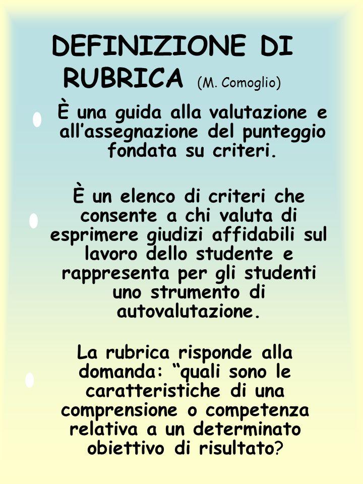 DEFINIZIONE DI RUBRICA (M. Comoglio)