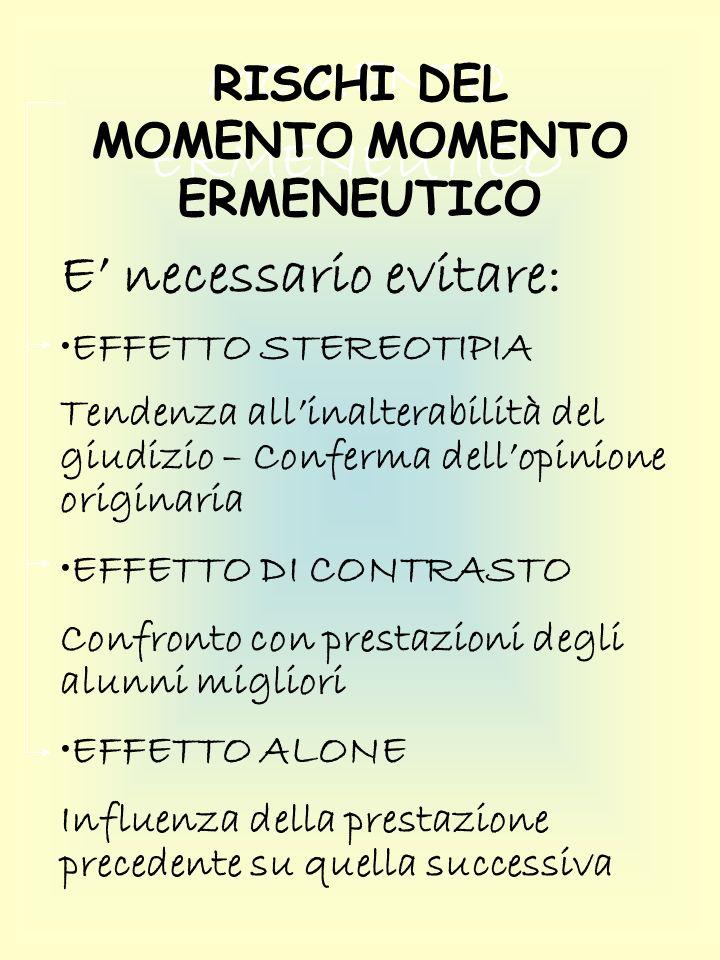 RISCHI DEL MOMENTO MOMENTO ERMENEUTICO