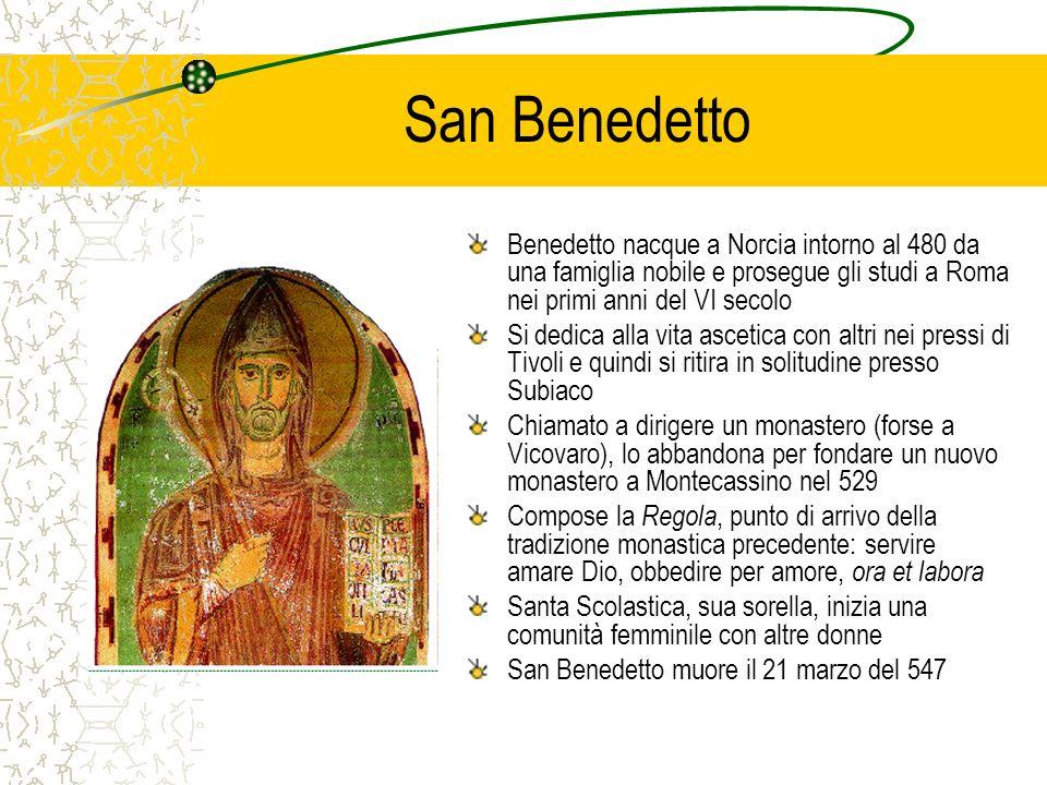 San Benedetto Benedetto nacque a Norcia intorno al 480 da una famiglia nobile e prosegue gli studi a Roma nei primi anni del VI secolo.