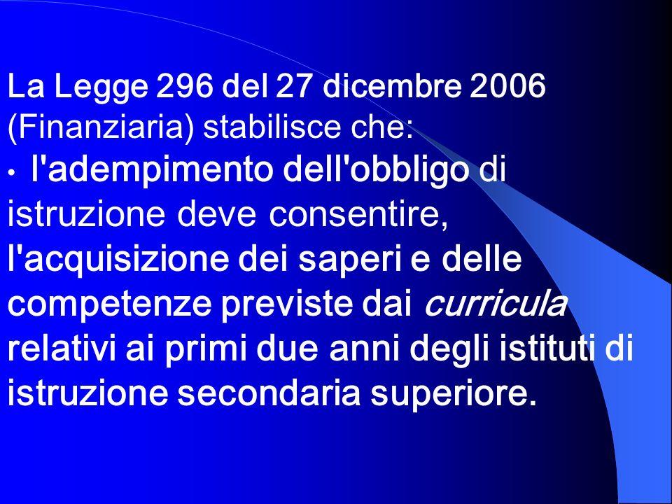 La Legge 296 del 27 dicembre 2006 (Finanziaria) stabilisce che: