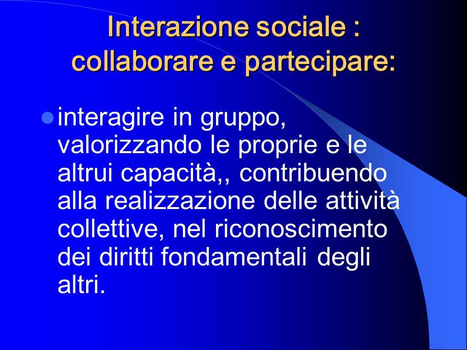 Interazione sociale : collaborare e partecipare: