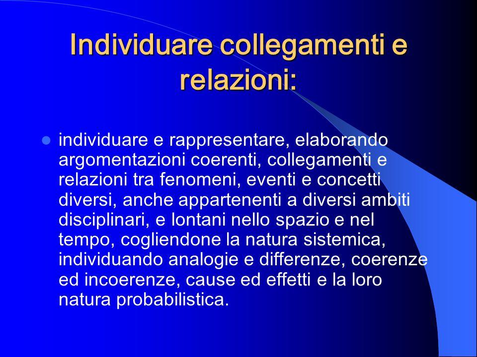 Individuare collegamenti e relazioni: