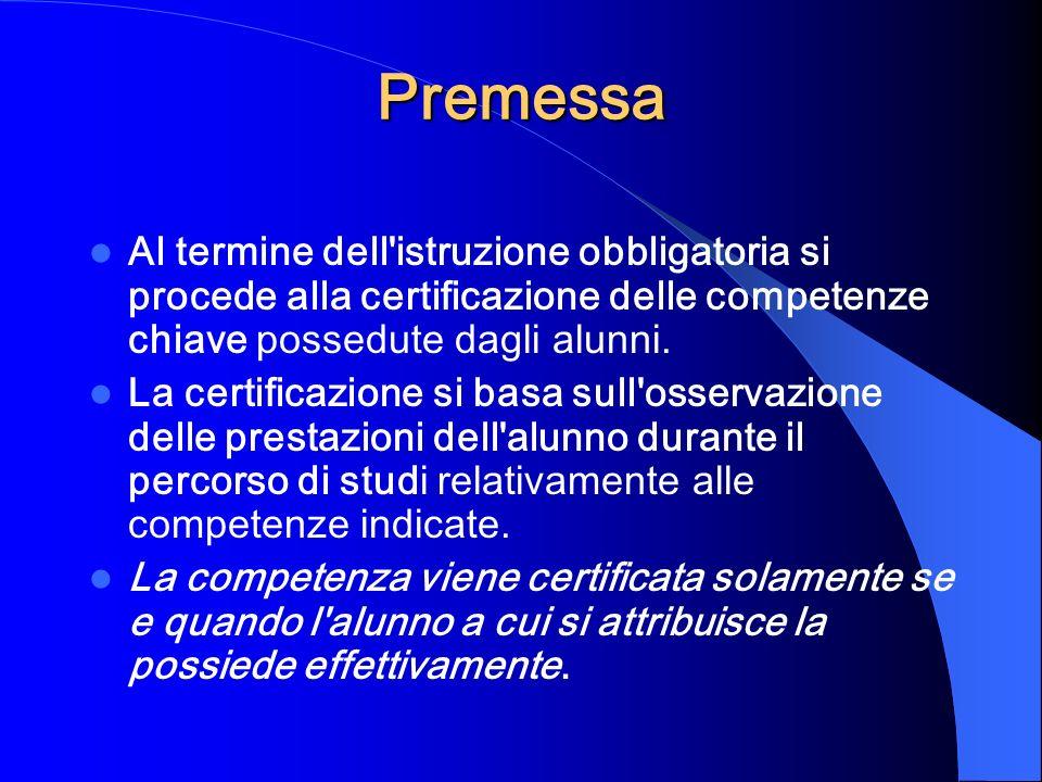 Premessa Al termine dell istruzione obbligatoria si procede alla certificazione delle competenze chiave possedute dagli alunni.