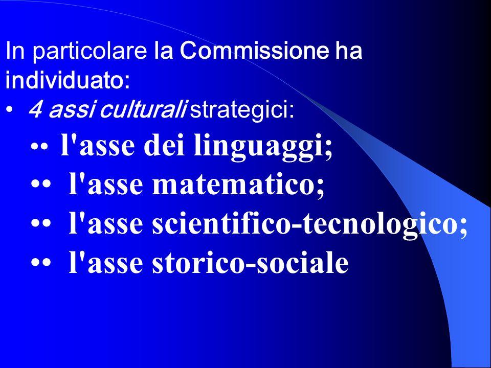 • l asse scientifico-tecnologico; • l asse storico-sociale