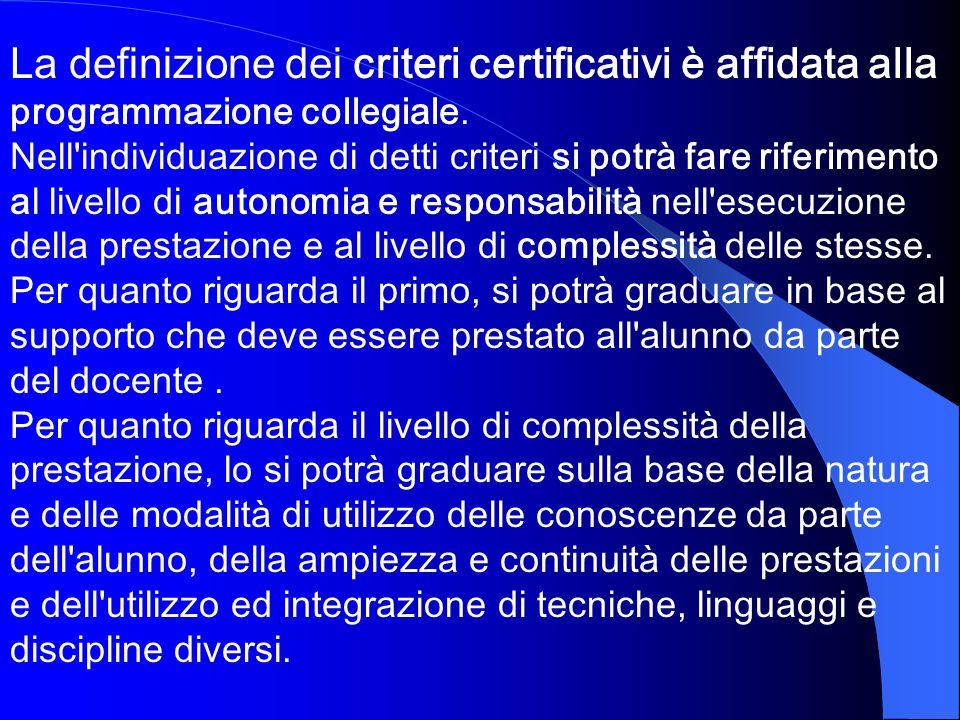 La definizione dei criteri certificativi è affidata alla programmazione collegiale.