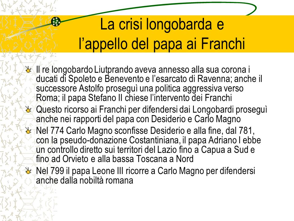 La crisi longobarda e l'appello del papa ai Franchi