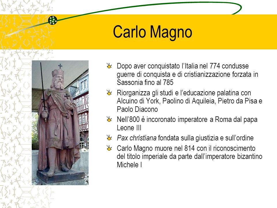 Carlo Magno Dopo aver conquistato l'Italia nel 774 condusse guerre di conquista e di cristianizzazione forzata in Sassonia fino al 785.