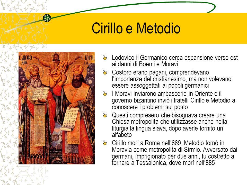 Cirillo e Metodio Lodovico il Germanico cerca espansione verso est ai danni di Boemi e Moravi.