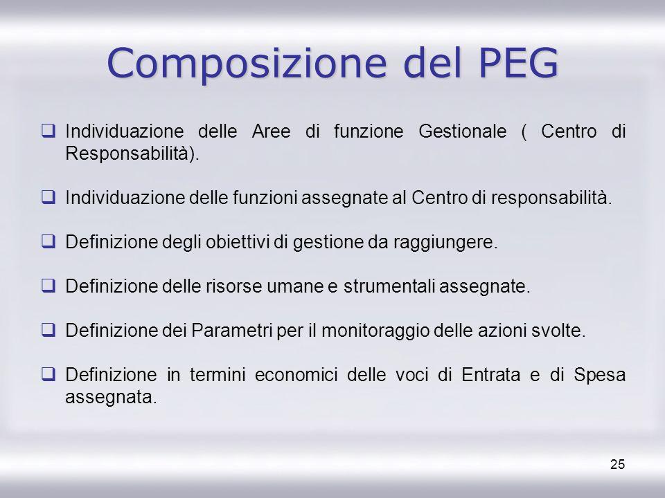 Composizione del PEG Individuazione delle Aree di funzione Gestionale ( Centro di Responsabilità).
