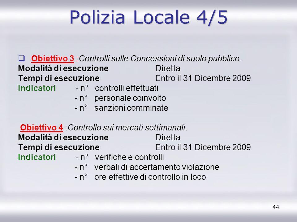 Polizia Locale 4/5 Obiettivo 3 :Controlli sulle Concessioni di suolo pubblico. Modalità di esecuzione Diretta.