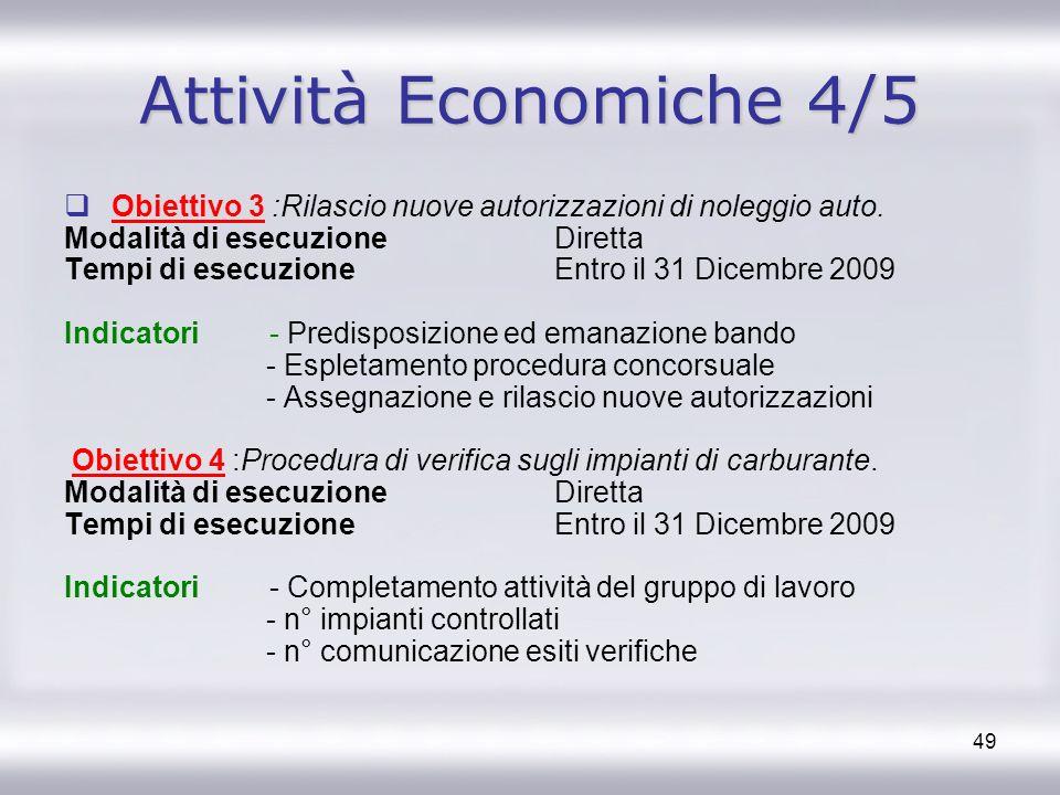 Attività Economiche 4/5 Obiettivo 3 :Rilascio nuove autorizzazioni di noleggio auto. Modalità di esecuzione Diretta.