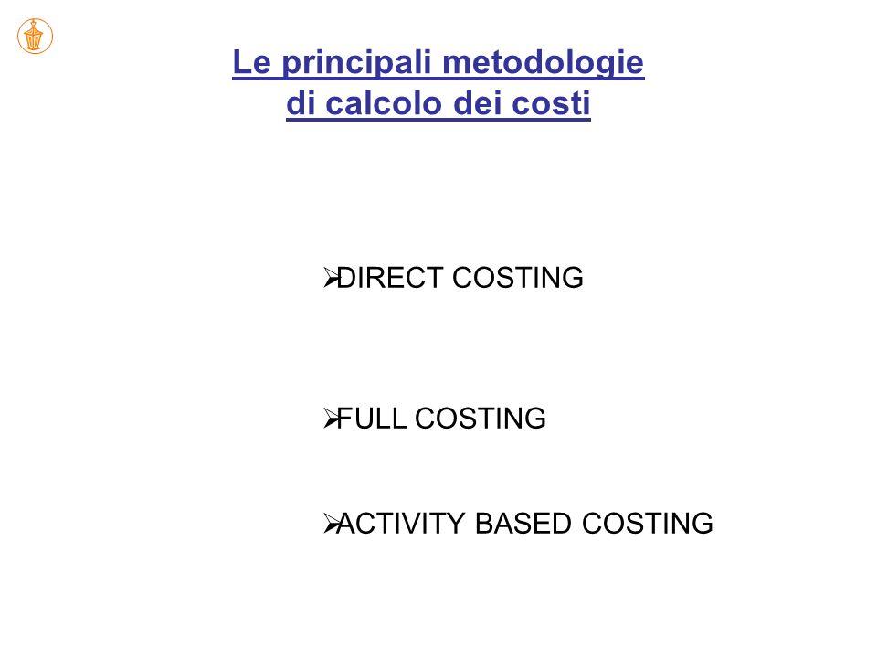 Le principali metodologie di calcolo dei costi