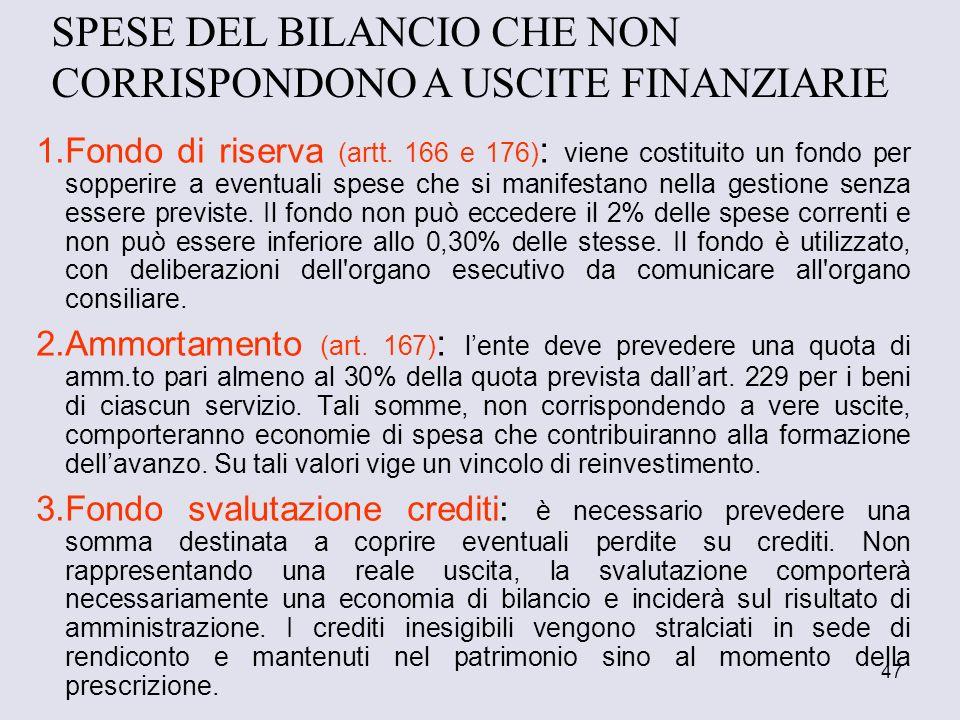 SPESE DEL BILANCIO CHE NON CORRISPONDONO A USCITE FINANZIARIE
