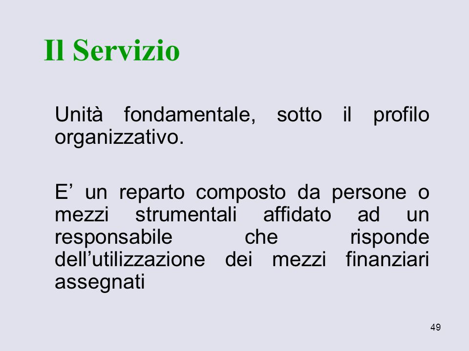 Il Servizio Unità fondamentale, sotto il profilo organizzativo.