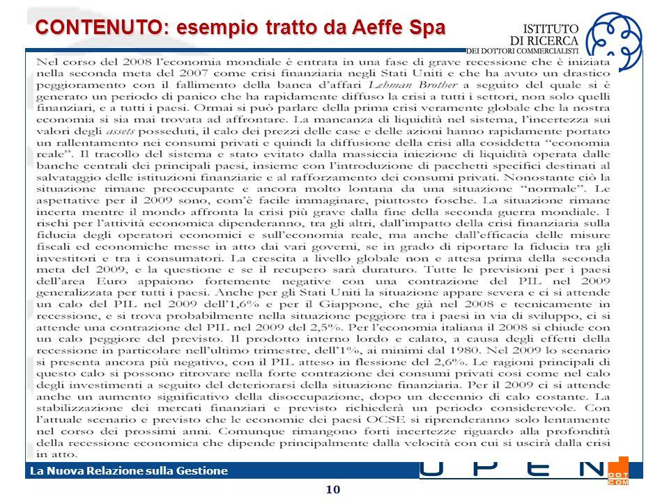 CONTENUTO: esempio tratto da Aeffe Spa