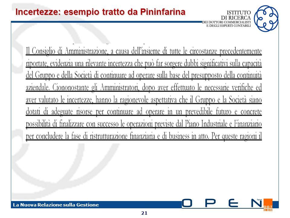 Incertezze: esempio tratto da Pininfarina