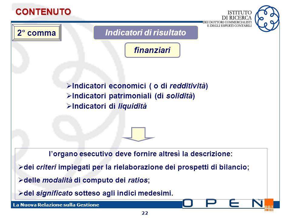 CONTENUTO 2° comma Indicatori di risultato finanziari