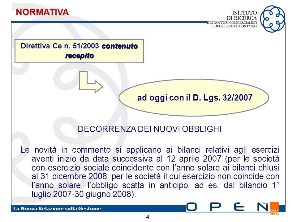 Direttiva Ce n. 51/2003 contenuto recepito