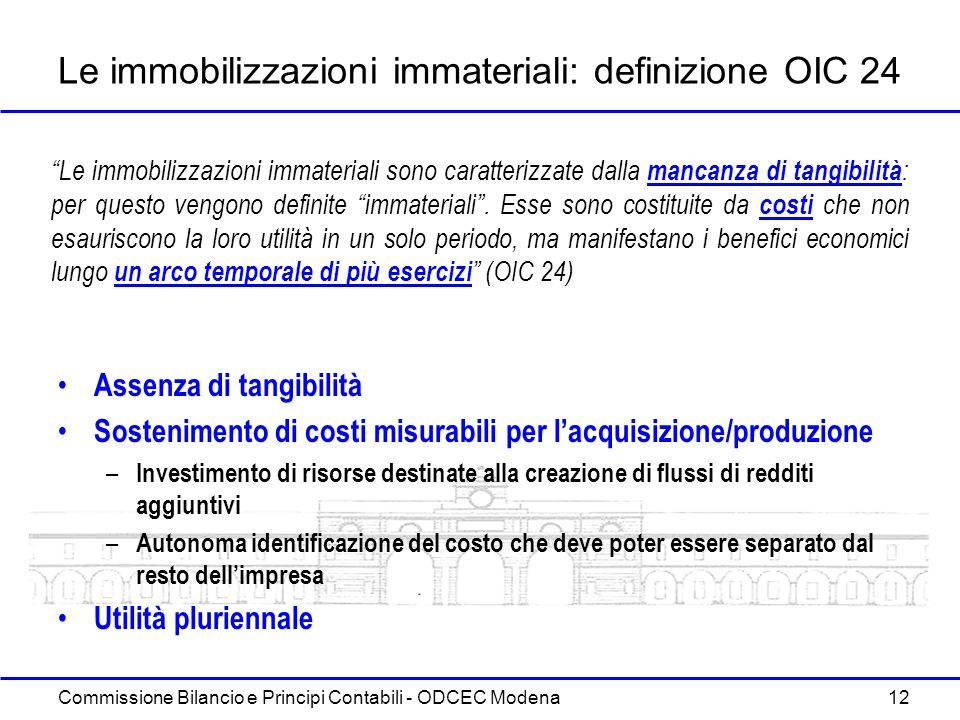 Le immobilizzazioni immateriali: definizione OIC 24