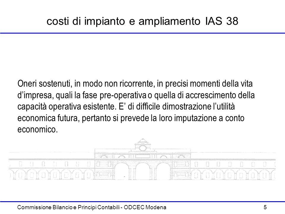 costi di impianto e ampliamento IAS 38