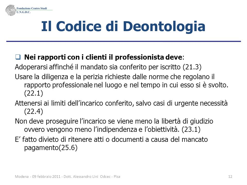 Il Codice di Deontologia