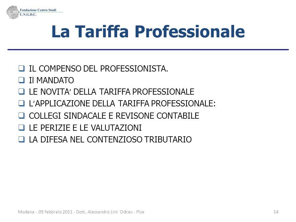 La Tariffa Professionale