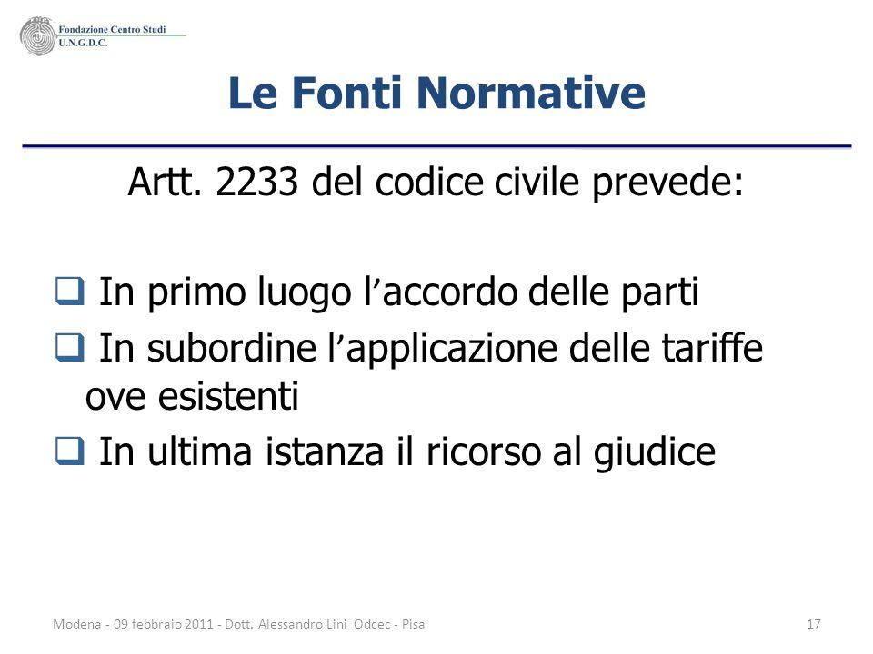 Artt. 2233 del codice civile prevede: