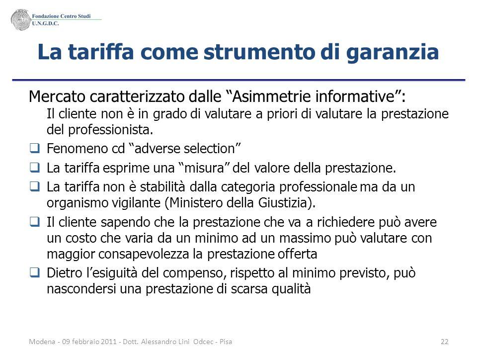 La tariffa come strumento di garanzia