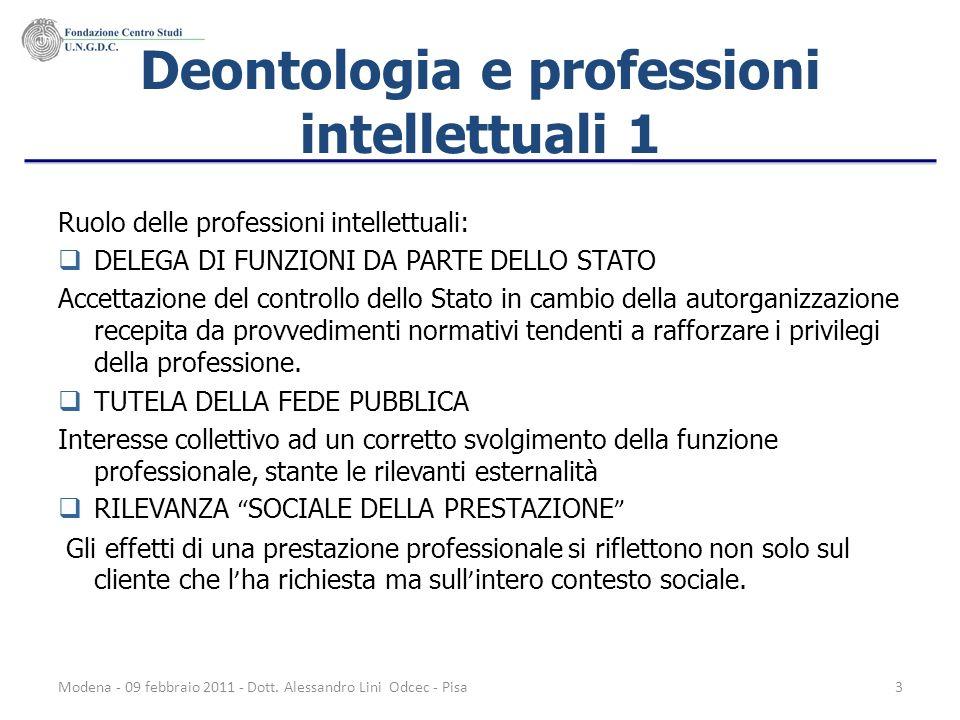 Deontologia e professioni intellettuali 1