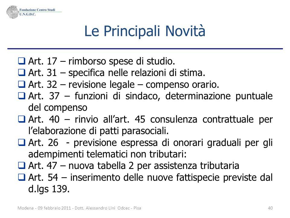 Le Principali Novità Art. 17 – rimborso spese di studio.