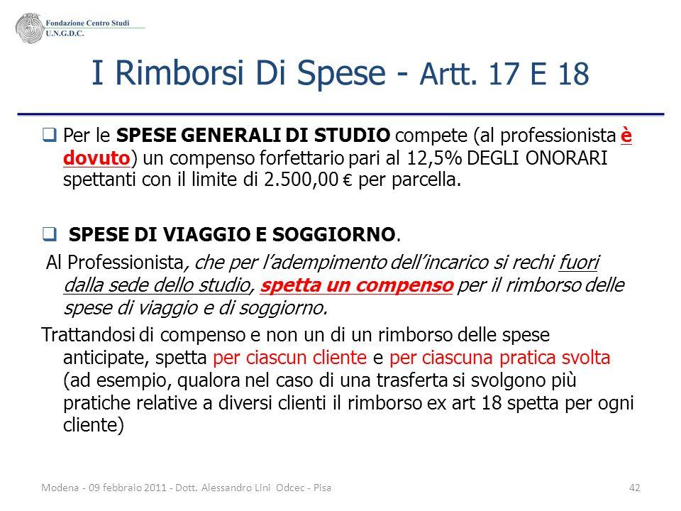 I Rimborsi Di Spese - Artt. 17 E 18