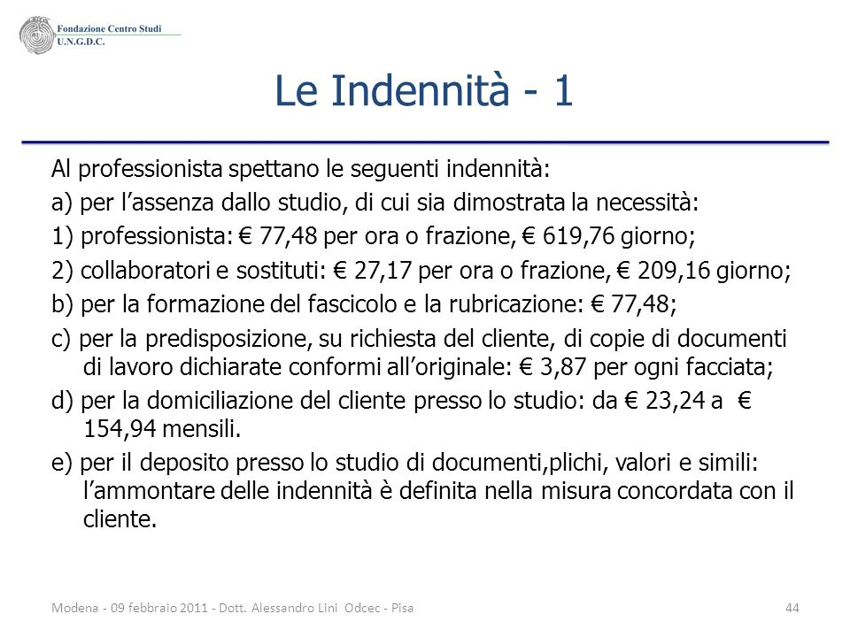 Le Indennità - 1