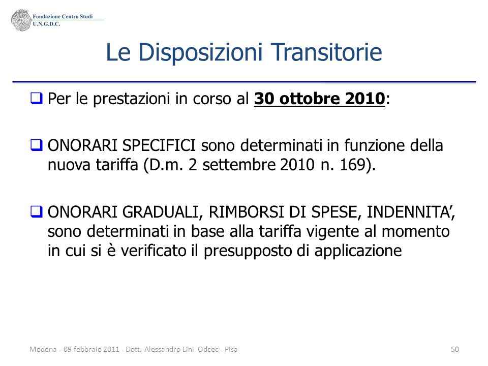 Le Disposizioni Transitorie