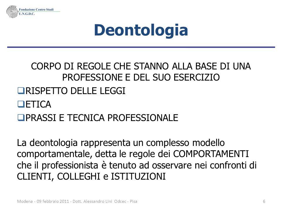 Deontologia CORPO DI REGOLE CHE STANNO ALLA BASE DI UNA PROFESSIONE E DEL SUO ESERCIZIO. RISPETTO DELLE LEGGI.