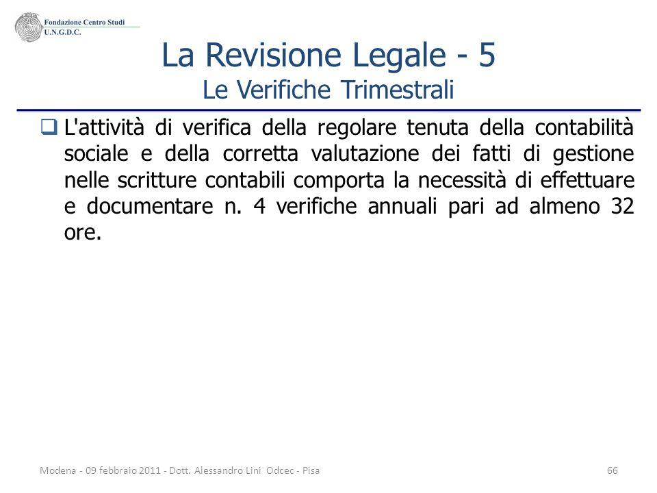 La Revisione Legale - 5 Le Verifiche Trimestrali