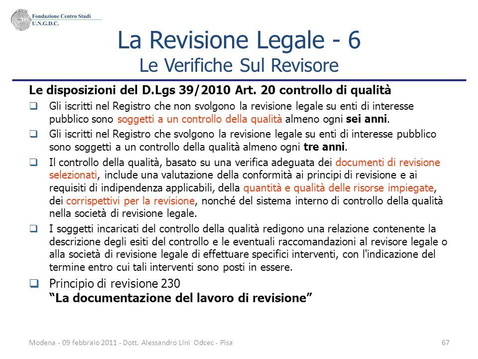La Revisione Legale - 6 Le Verifiche Sul Revisore