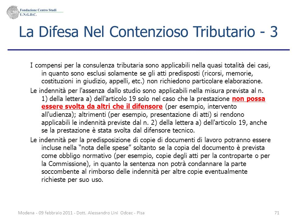 La Difesa Nel Contenzioso Tributario - 3