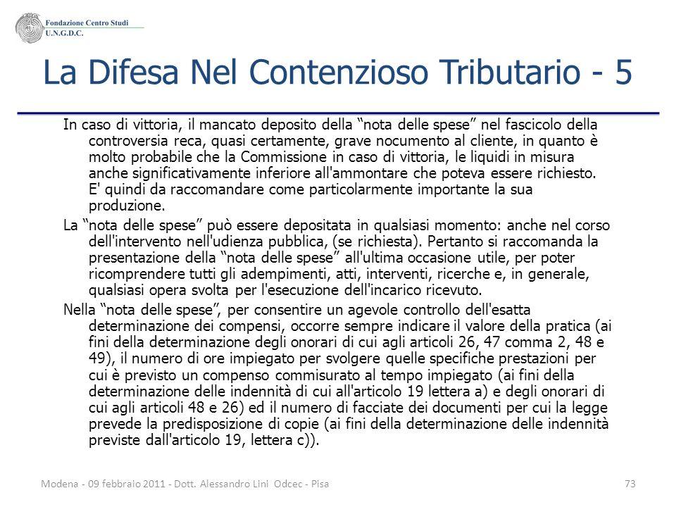 La Difesa Nel Contenzioso Tributario - 5