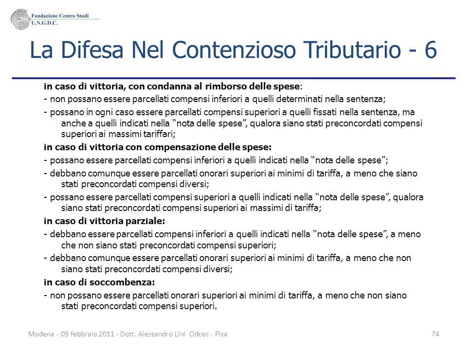 La Difesa Nel Contenzioso Tributario - 6