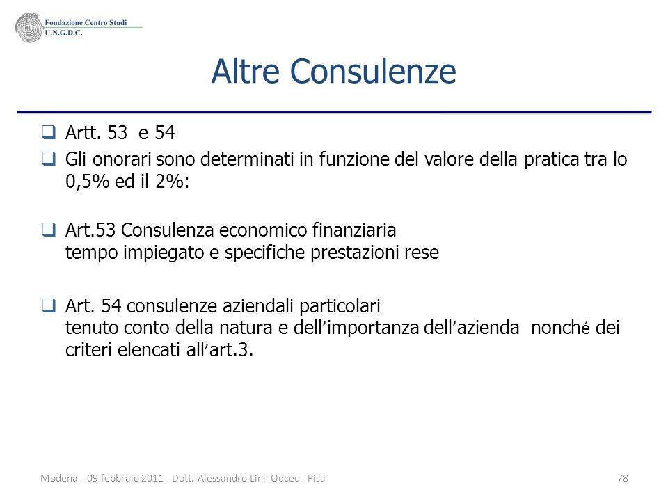 Altre Consulenze Artt. 53 e 54