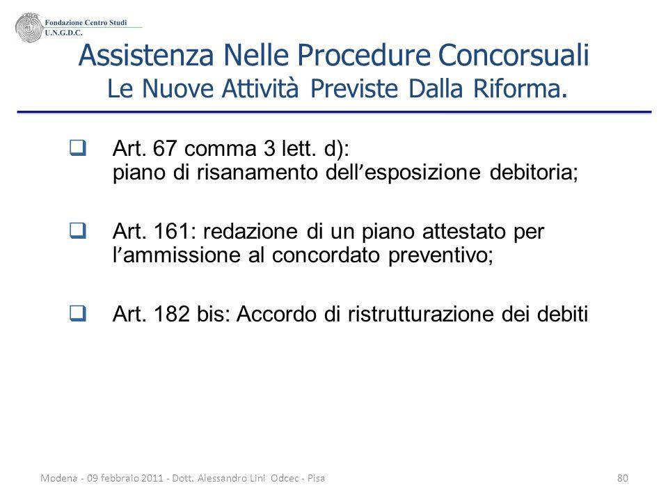 Assistenza Nelle Procedure Concorsuali Le Nuove Attività Previste Dalla Riforma.